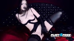 Erny Dark on Flirt4Free Goth Babe in Latex and Stockings Pleasures Pussy